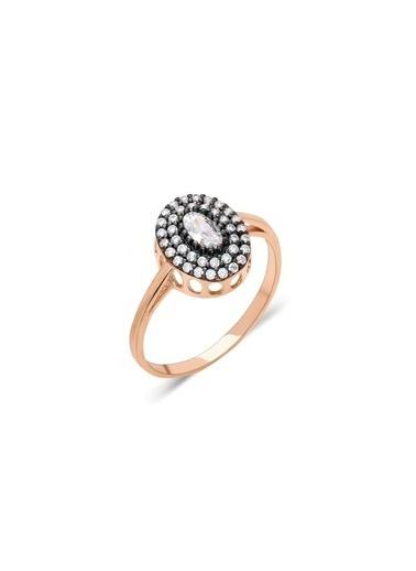Aykat Elmas Modeli Roze Gümüş Yüzük Taşlı Bayan Yüzüğü Yzk-334 Gümüş